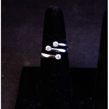 18k white gold three stone Recarlo Eternity ring. Total diamond .37ct. Size O. Price includes nationwide delivery