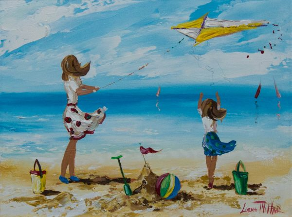 lorna millar flying a kite oil painting