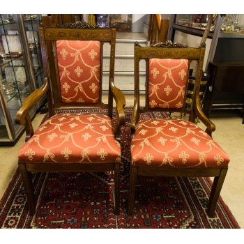 edwardian inlaid mahogany elbow chairs