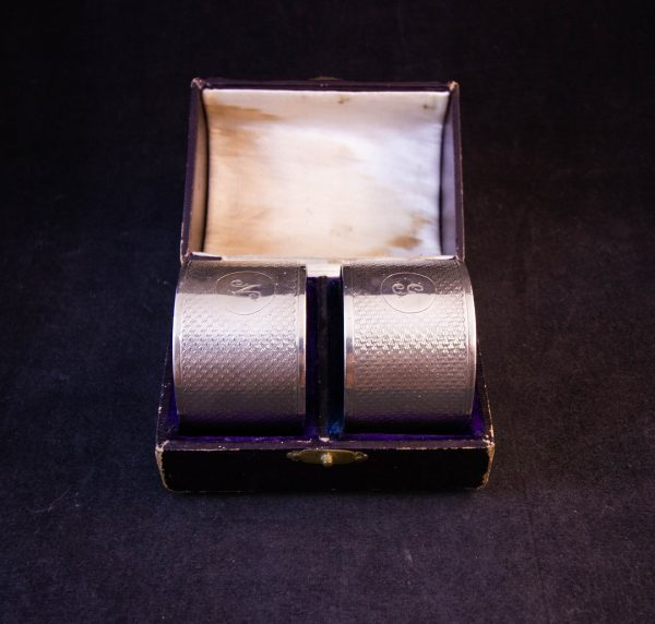 """Pair of engraved silver napkin rings in case. Engraved """"N"""" and """"G"""". Price includes nationwide delivery"""