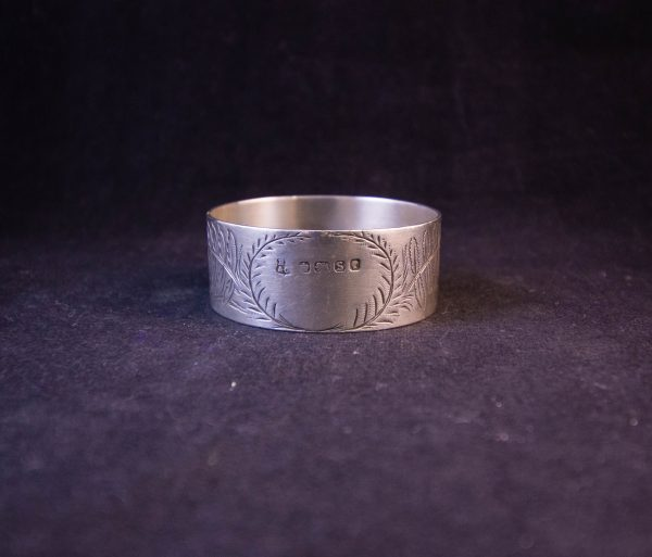 Silver napkin ring engraved with ferns. Stamped Sheffield 1885. Price includes nationwide delivery