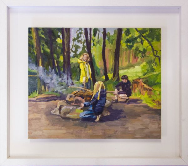"""Caroline Browne """"Campfire"""" oil painting on board. Frame measures 51 x 45cm, painting measures 36 x 30cm. Price includes nationwide delivery"""
