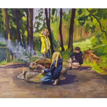 "Caroline Browne ""Campfire"" oil painting on board. Frame measures 51 x 45cm, painting measures 36 x 30cm. Price includes nationwide delivery"