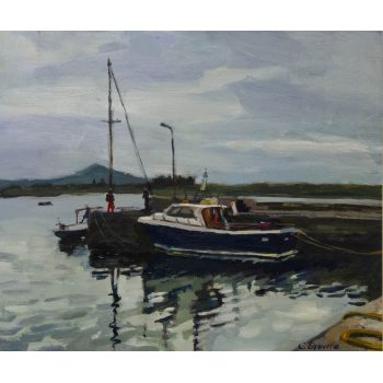 "Caroline Browne ""Harbour Boats"" oil painting on board. Frame measures 51 x 45cm, painting measures 36 x 30cm. Price includes nationwide delivery"