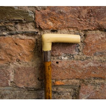 """Bone handle walking stick with silver neck. Measures 33"""" Price includes nationwide delivery"""