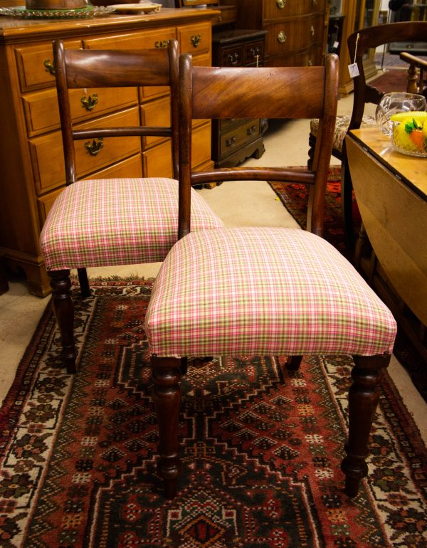 Pair of William IV mahogany bedroom occasional chairs. Measures 46W x 44D x 45H to the seat, 85H in total. Price includes nationwide delivery