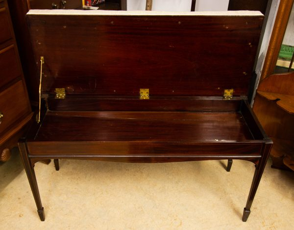 Edwardian inlaid mahogany duet music stool with lift top. Measures 94L x 36D x 52H. Price includes nationwide delivery