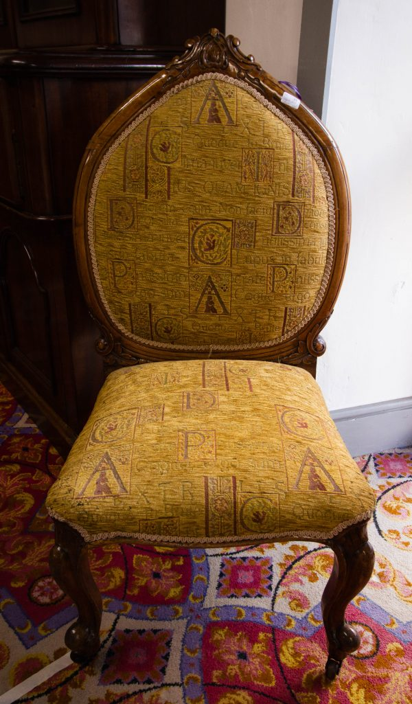 Large Victorian upholstered nursing chair on castors. Seat measures 55W x 53D x 42H, back measures 62W, total 110H. Price includes nationwide delivery