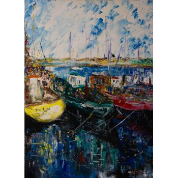 "Marley Irish ""Quay Side"" acrylic painting on canvas. Frame measures 66 x 86cm, 50 x 60cm. Price includes nationwide delivery"