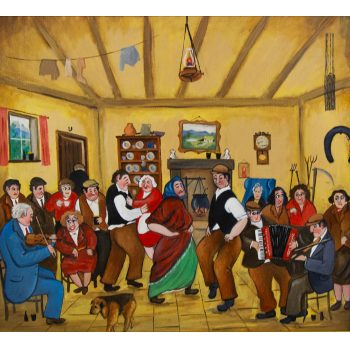 "John Schwatschke ""Ceili in the Kitchen"" oil painting on canvas. Frame measures 75 x 70cm, canvas measures 54 x 49cm. Price includes nationwide delivery"