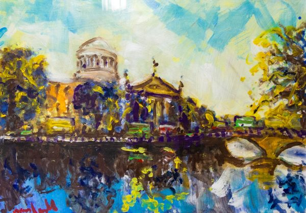 "Marie Carroll ""Dublin Fourcourts"" acrylic painting on board. Frame measures 109 x 85cm, painting measures 83 x 59cm. Price includes nationwide delivery."