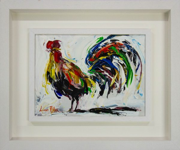 Lorna Millar Cockerel on white acrylic painting on canvas. Frame measures 64cm x 54cm, painting measures 40cm x 30cm. Price includes nationwide delivery