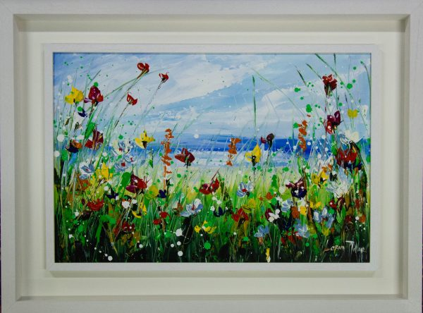 Lorna Millar Seaside Flowers in red acrylic painting on canvas. Frame measures 100cm x 74cm, painting measures 75cm x 50cm. Price includes nationwide delivery