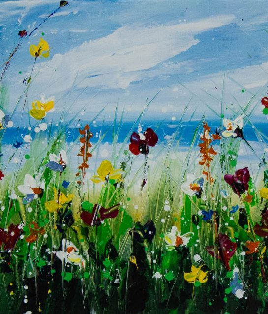Lorna Millar Seaside Flowers in yellow acrylic painting on canvas. Frame measures 100cm x 74cm, painting measures 75cm x 50cm. Price includes nationwide delivery