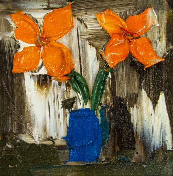 Colin Flack Orange Flowers acrylic painting on board. Frame measures 29cm x 29cm, painting measures 14cm x 14cm. Price includes nationwide delivery.