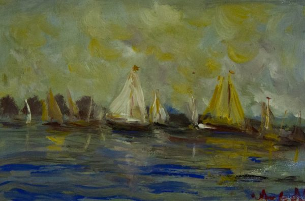 Marie Carroll Sail Boats oil painting on board. Frame measures 100cm x 75cm, painting measures 70cm x 47cm. Price includes nationwide delivery.