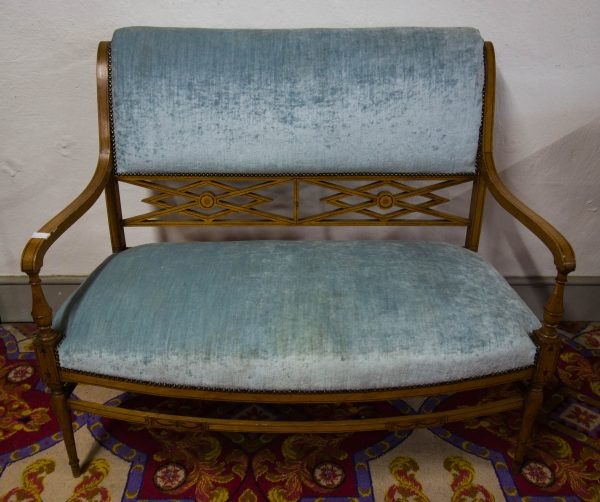 Five piece satinwood and blue velvet drawing room suite. Includes two seater settee, two arm chairs and two single chairs
