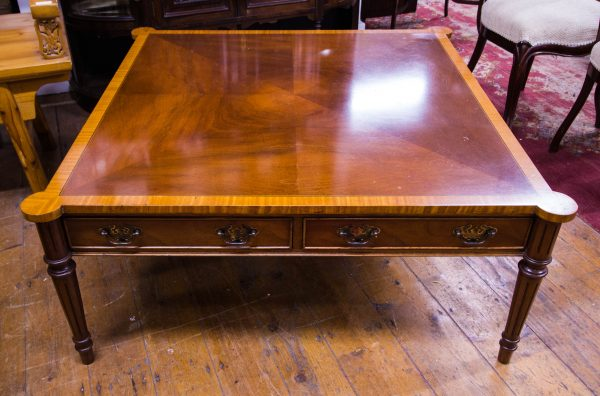 large inlaid and crossbanded satinwood and mahogany coffee table