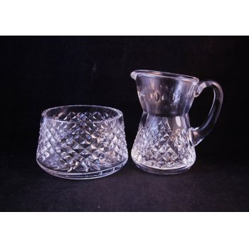 waterford crystal sugar bowl and milk jug