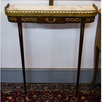 french marble top console side table