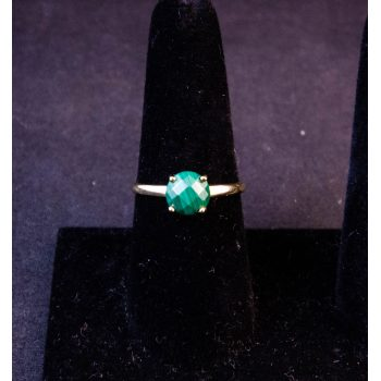 9k yellow gold ring with malachite stone in 4 claw setting. Size T. Price includes nationwide delivery.