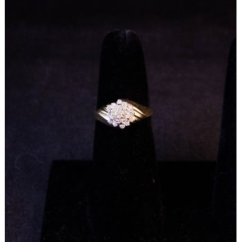 10k yellow gold and diamond cluster ring. Size M. Price includes nationwide delivery