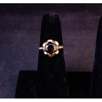 9k yellow gold smoky quartz dress ring. Size L. Price includes delivery
