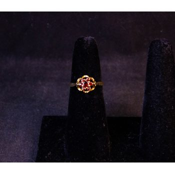9k yellow gold raised garnet cluster ring. Size I 1/2. Price includes nationwide delivery