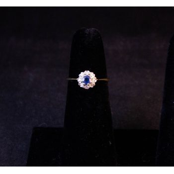 9k yellow gold, sapphire and diamond cluster ring. Size M Price includes nationwide delivery