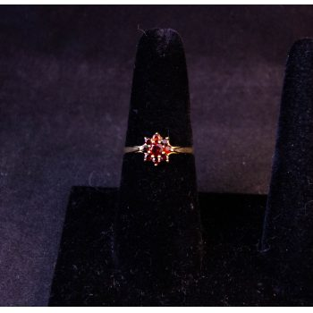 9k yellow gold garnet cluster dress ring. Size P. Price includes nationwide delivery