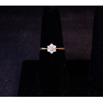 9k yellow gold diamond cluster ring. Size Q. Price includes nationwide delivery