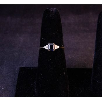 9k yellow gold sapphire and diamond dress ring. Size N Price includes nationwide delivery