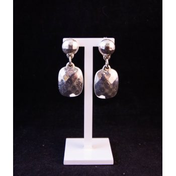 Silver faceted drop stud earrings Price includes nationwide delivery