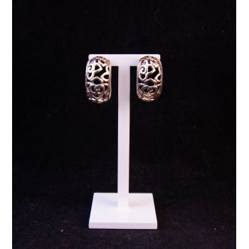 Silver half hoop floral earrings. Price includes nationwide delivery