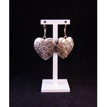 Silver heart shaped flower drop earrings. Price includes nationwide delivery