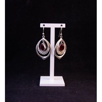 Silver drop earrings with red stone. Price includes nationwide delivery