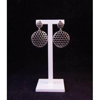 Silver hexagon honeycomb drop stud earrings Price includes nationwide delivery