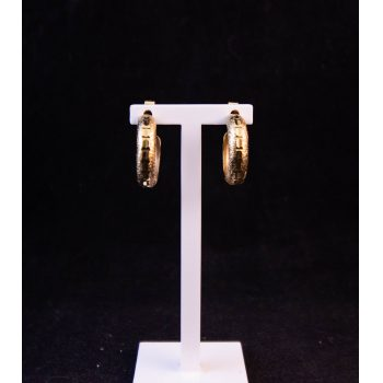 9k yellow gold half hoop faceted earrings Price includes nationwide delivery