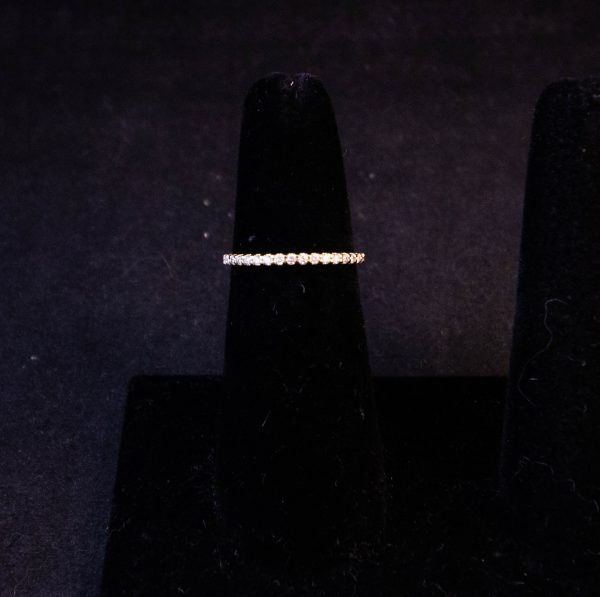 18k yellow gold half eternity ring. Total diamond .2ct. Size L. Price includes nationwide delivery