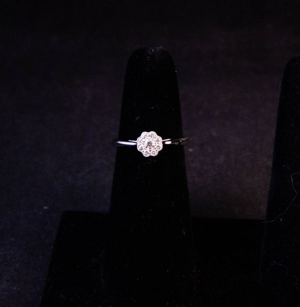 18k white gold daisy pave ring. Total .18ct diamond content. Size L. Price includes nationwide delivery