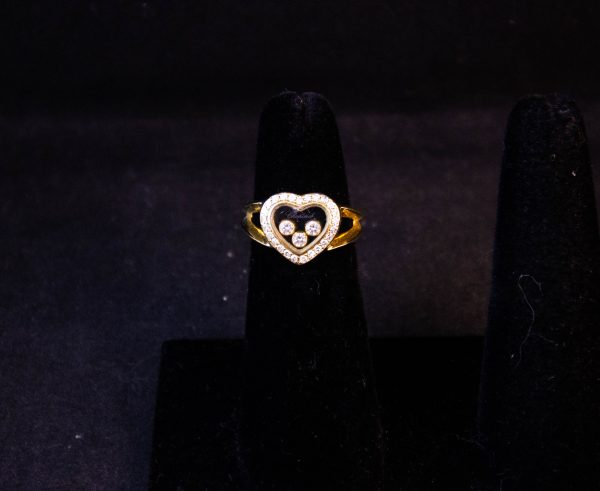 """18k yellow gold Chopard """"Happy Diamonds"""" heart ring. Total diamond content .35ct. Size H. Price includes nationwide delivery"""