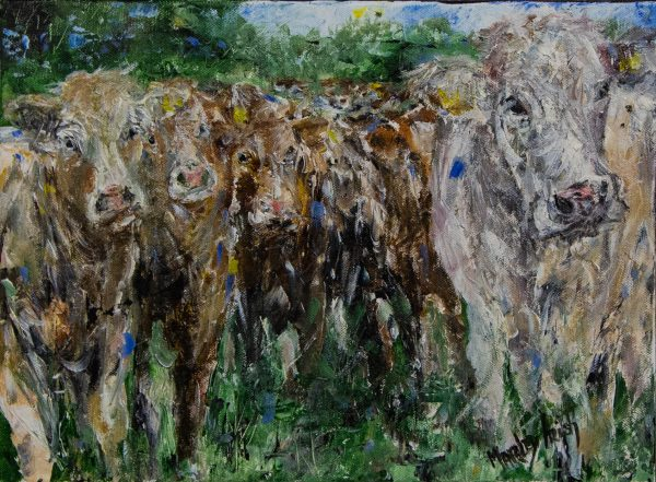 """Marley Irish """"Feeding Time"""" acrylic painting on canvas. Frame measures 56 x 46cm, painting measures 40 x 30cm. Price includes nationwide delivery"""