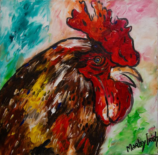 """Marley Irish """"Red Hen"""" acrylic painting on unframed canvas. Painting measures 40 x 40cm. Price includes nationwide delivery"""
