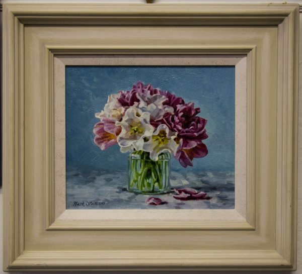 mark o'neill still life flowers oil on board painting