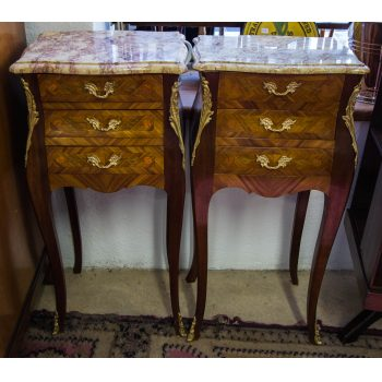 pair of french marble top lockers