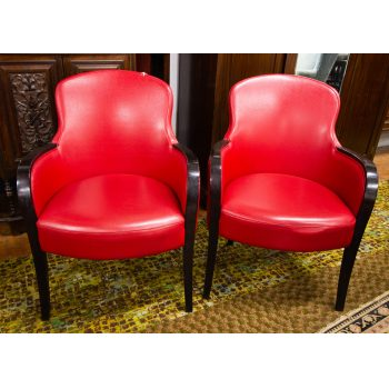 Pair of cherry red leather button back club chairs. Measures 65W x 50D (seat) x 89h in cm. Price includes nationwide delivery