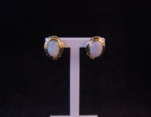 9k yellow gold and opal stone stud earrings