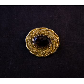 Gold plated rope twist costume brooch with smokey quartz style stone