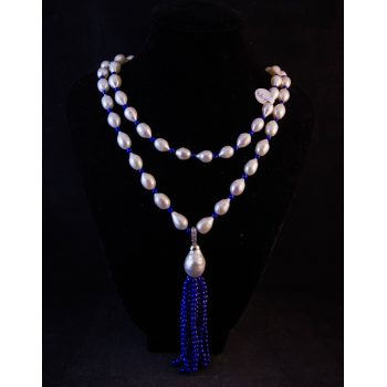 Natural freshwater pearl necklace with lapis lazuli stones and large pear drop pearl pendant