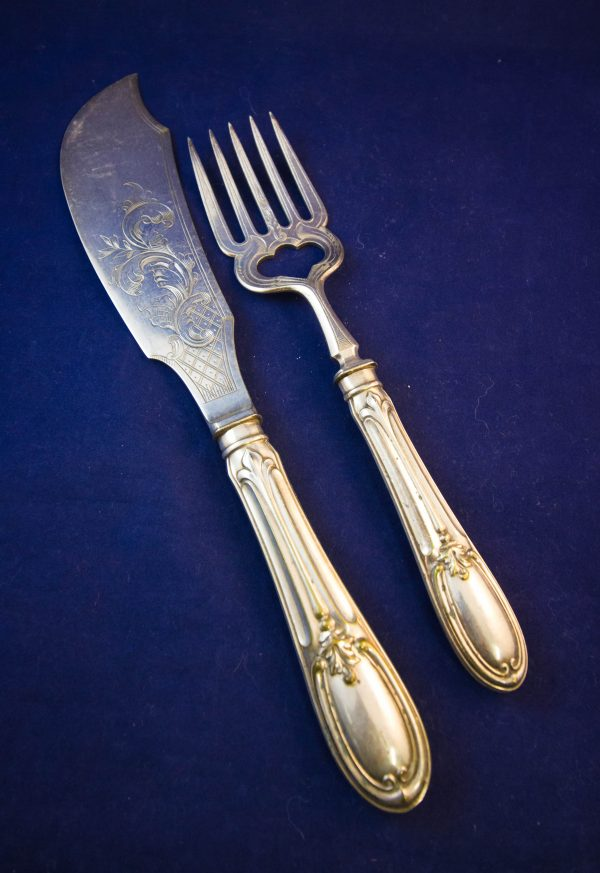 silver plated fish service